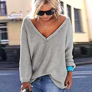 Sweaters - NWT Sweater V Neck SOFT Knit Gray SIZE REStocK !